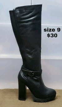 unpaired black leather knee-high boot 1463 mi