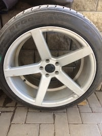 Used Gray 5-spoke car wheel with tire set for sale in ...