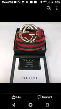 red and black Gucci leather belt with box 22 mi