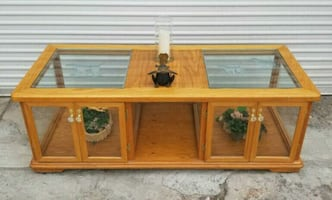 Large Solid Wood And Glass Coffee Table