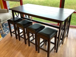 New Solid Wood Drop Leaf Bar Table w/ 4 Stools