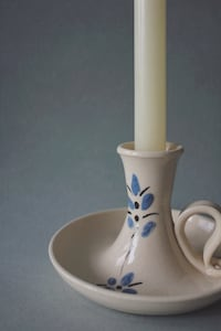 Vintage Cream Candleholder with Flower Hand Painting