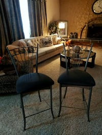 two black metal framed padded chairs Sherwood Park, T8A 0T4