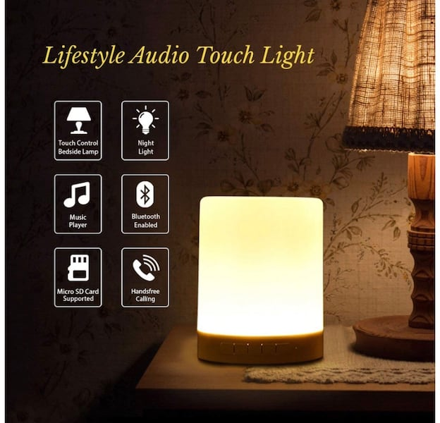 Night Light Bluetooth Speaker, Portable Wireless Bluetooth Speakers, Touch Control, Color LED Speaker, Bedside Table Light, Speakerphone/TF Card/AUX-in Supported (White), 7 63369430-1d7a-4dab-af4b-e8c5562c883d