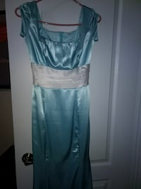 women's white and blue satin square-neck dress