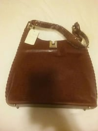 brown leather 2-way bag Clinton
