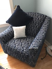 NEW Navy and Cream floral side Arm chair Woodland Park, 07424