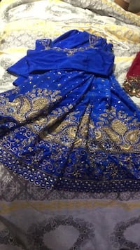 Blue and gold silk saree Toronto, M3M