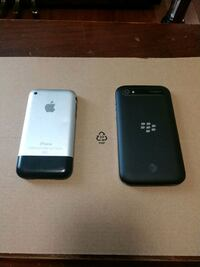 Two smartphones iPhone original and blackberry Oyster Bay