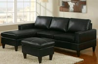 black leather sectional sofa with ottoman Orlando, 32822