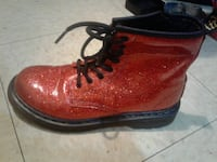Red/Orange Sparkly AirWair Boots ♡ Girl's Size 3 ♡ Side Zipper