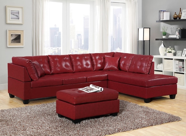 Brand new red leather sectional sofa with ottoman