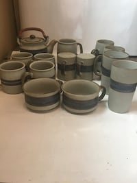 Hand crafted stoneware mixed set 14 pieces, Excellent condition!  Union, 07083