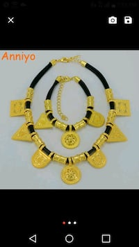 yellow and black beaded necklace Laurel, 20708