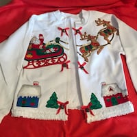 white and red Santa Claus and Sleigh zip-up jacket Overland Park, 66212