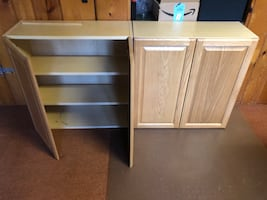 Solid wood doors on cabinets.
