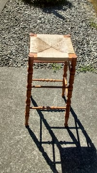 brown wooden framed brown padded chair Chemainus