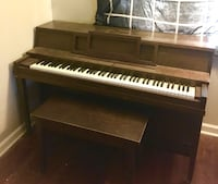Upright piano and bench. Family piano. Needs tuned but it's still fun to play. Bench opens up to hold books. Columbus, 43224