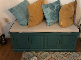 Antique Blue Storage Bench with long cushion( pillows not included