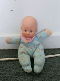 baby doll in blue and white footie pajama 1307 km
