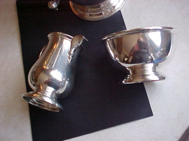 Birks Sterling Tea Pot {Coffee} Matching Cream Sugar  3d0ee64d-a8ce-4011-abc8-a5f9b6b03b93