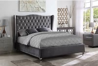 Grey Velvet Bed With Wing Backboard with Nailhead and Rhinestones Vaughan, L4L 7A5