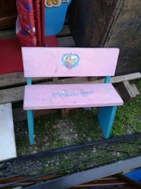 white and pink wooden 2-drawer chest
