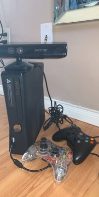 X box 360 with kinect and two controllers