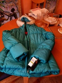 baby's blue and green bubble jacket 56 km