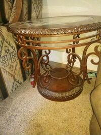 brown wooden framed glass top table Fort Collins, 80524