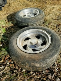 gray 5-spoke vehicle wheel and tire set Taneytown, 21787