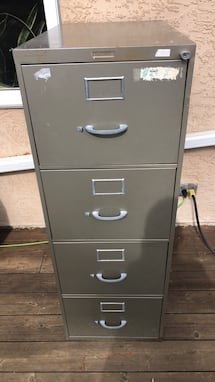 Gray metal 2-drawer filing cabinet