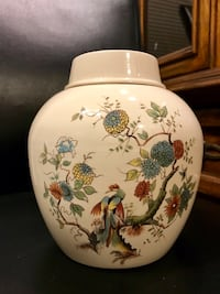 Royal Cauldon porcelain tea caddy/ ginger jar