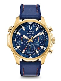 round gold-colored chronograph watch with blue leather strap Kelowna, V1Y 9R7