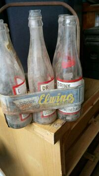 Antique bottles n holder
