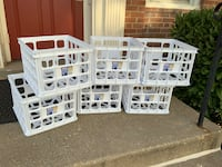 6 matching white plastic milk crate stacking boxes/crates all for $15 Arlington, 22201