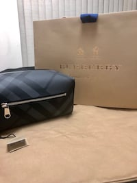 Burberry London Check and Leather Pouch (Charcoal/Black) - BRAND NEW!