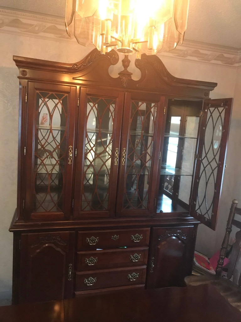 Dining Room Set   Table With 2 Inserts, 6 Chairs, China Cabinet (2 Pieces)  And Corner Cabinet