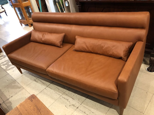 West Elm leather sofa NEW