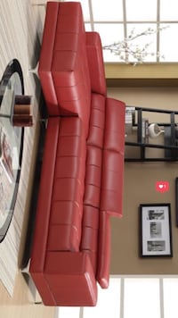 SPECIAL] Samuel Red Bonded Leather Sectional  Houston, 77036