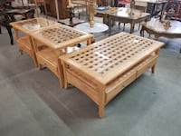 Set of Three Blonde Wood Glass Top Coffee Table End Tables w/ Drawers