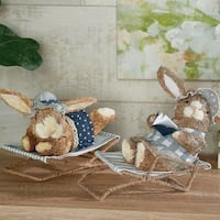 2-Piece Lounging Sisal Bunnies by Valerie