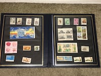 postage stamp collection with frame Montebello, 90640