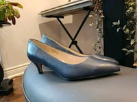 pair of blue leather kitten heels Toronto, M4T 1N8