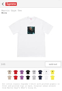 Supreme Marvin Gaye Tee Size Medium  222 mi