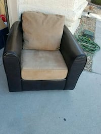 Leather and suede lounge chair  Henderson