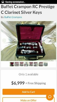 Buffet crampon clarinet with soft case.