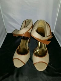 pair of brown leather peep toe heels Alexandria, 22311