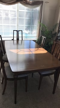 rectangular brown wooden table with six chairs dining set Antelope, 95843
