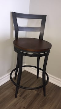 Round brown wooden bar stool  Mississauga, L5A